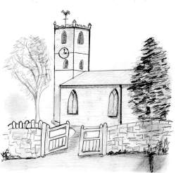 A pencil sketch of All Saints Church, Tibberton. The gates are open, and the clock shows 3 o'clock. Copyright Mrs K Cunningham.